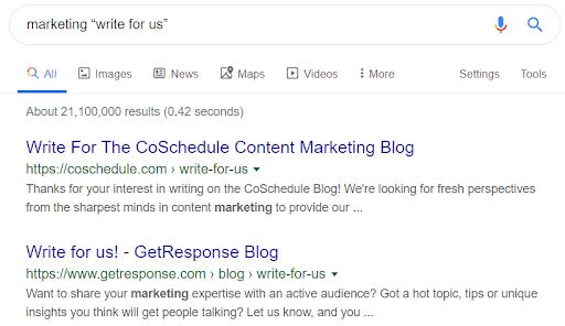 google results screenshot