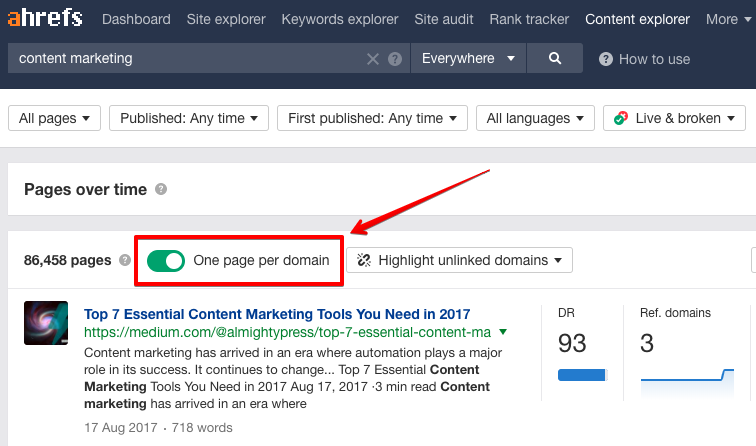 ahrefs one page per domain feature