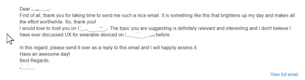 blogger outreach feedback