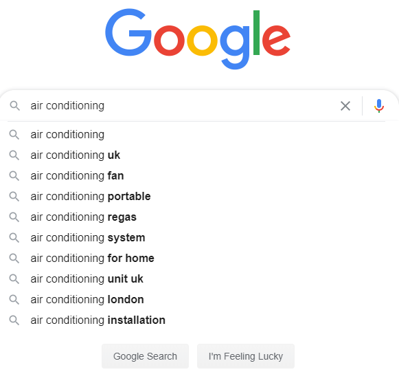 google autosuggest results